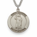 "St. Stephen, Patron Of Contractors, Sterling Silver Engraved Medal on 24"" Chain"