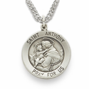 "St. Anthony 3/4"", Patron of Lost Articles, Sterling Silver Engraved Medal on 18"" Chain"