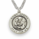 "St. Joseph, Patron of Carpenters, Sterling Silver Engraved Medal on 20"" Chain"