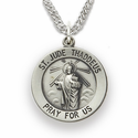 "St. Jude, Patron of Hopeless Causes, Desperation, Sterling Silver Engraved Medal on 20"" Chain"