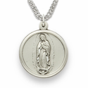 "Our Lady of Guadalupe 3/4"" , Virigin of Guadalupe, Sterling Silver Engraved Medal on 20"" Chain"