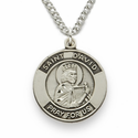 "St. David 5/8"", Patron of Poets, Sterling Silver Engraved Medal"