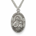 "St. Anne 3/4"", Patron of Women in Labor, Sterling Silver Engraving Medal on 18"" Chain"