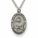 "St. Catherine, Patron of Artists, Secretaries, Sterling Silver Engraved Medal on 18"" Chain"