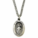 "Sterling Silver St. Jude Medal, Patron of Hopeless Causes on 18"" Chain"