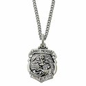 "St. Michael Shield Sterling Silver  Medal, Patron of Police Officers on 18"" Chain"
