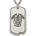 Sterling Silver Military Dog Tags with Cross on Back