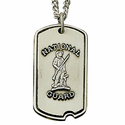 Sterling Silver National Guard Dog Tag with Plain Back For Engraving