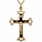 "Sterling Silver 14K Gold Finish Black Enamel Crucifix on 18"" Chain"