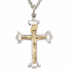 "Sterling Silver Two Tone Budded Ends Crucifix on 18"" Chain"