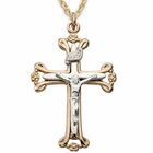 "Sterling Silver 14K Gold Finish Two Tone Budded Ends Crucifix  on 18"" Gold Chain"