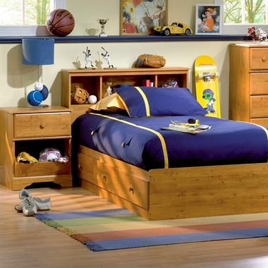 Little Treasures Twin Bookcase Headboard Twin Mates Bed And Nightstand Country Pine 3432 098
