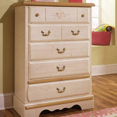 Princess Bouquet 5 Drawer Chest White Wash 4205 By Kathy