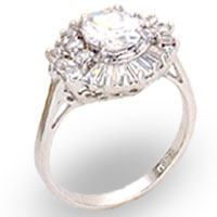 Sterling Silver Clear Rosette CZ Ring