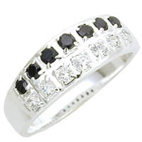Sterling Silver Black & Clear CZ Band
