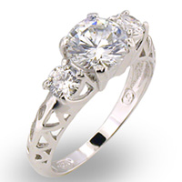 Sterling Silver Diamond CZ with Filigree Band