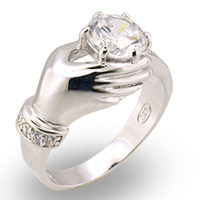 Sterling Silver Hand CZ Ring