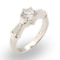 Sterling Silver CZ Solitaire w/ Baguettes