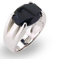 Sterling Silver Oval Onyx Solitaire Ring