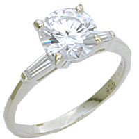 Sterling Silver Large 8mm Diamond CZ Solitaire Ring