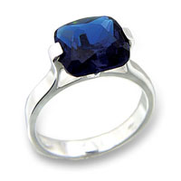 Sterling Silver Sapphire Solitaire CZ Ring