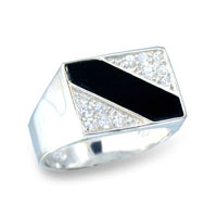 Sterling Silver Mens Line Onyx CZ Ring