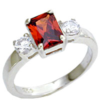 Sterling Silver Garnet & CZ Ring
