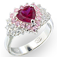 Sterling Silver Rosette Ruby CZ Ring