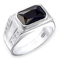 Sterling Silver Mens Rectangular Onyx CZ Ring
