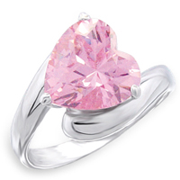 Sterling Silver 4 Ct Pink Heart CZ Ring