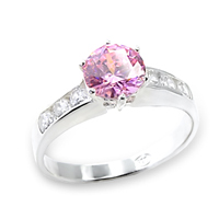 Pink CZ Solitaire Ring A6X054