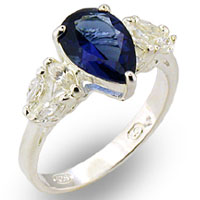 Sterling Silver Pear Shaped Sapphire Ring