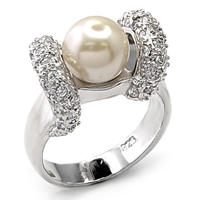 Sterling Silver Pearl CZ Ring (A7X202)