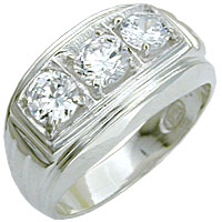 Sterling Silver Mens Diamond CZ Ring