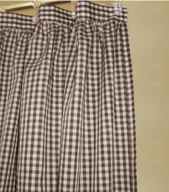 Brown Gingham Check Fabric Shower Curtain
