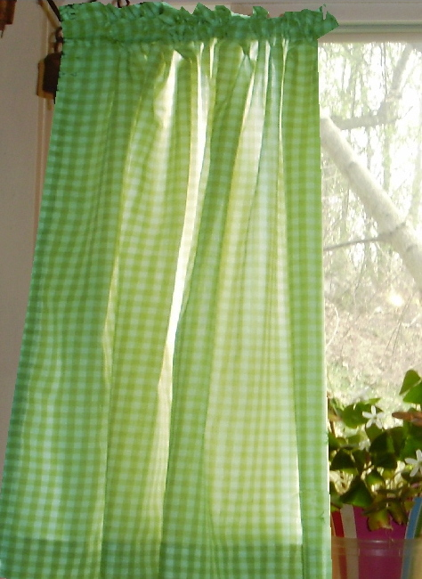 Lime Green Gingham Kitchen Cafe Curtains