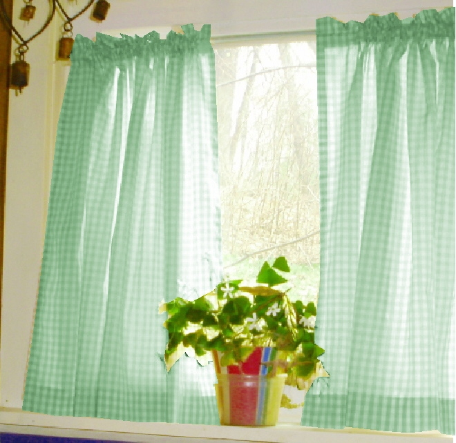 mint green and white gingham check kitchen cafe tier curtains