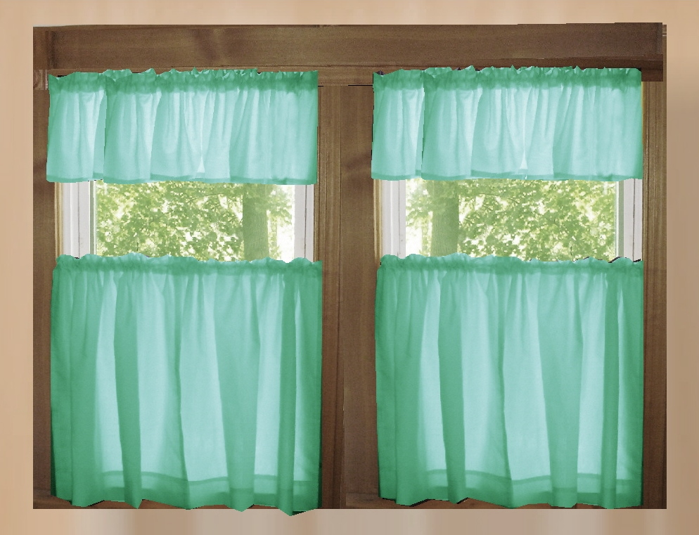Mint Green Solid Colored Kitchen Cafe Tier Curtains