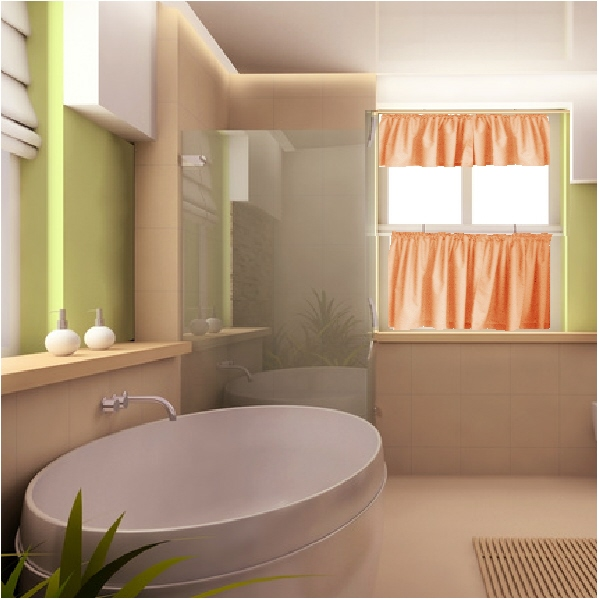 Solid Peach or Salmon Colored Kitchen/Cafe Curtains