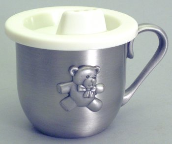 Teddy Bear Pewter Baby Cup
