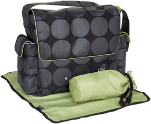 OiOi Black-Charcoal-Green Messenger Diaper Bag