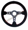 NRG Deep Dish Steering Wheel Suede with Red Stitch ST-006S
