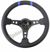 NRG Deep Dish Steering Wheel Black Leather / Blue Center ST-016R-BK