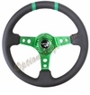NRG Deep Dish Steering Wheel Black Leather / Green ST-016R-GN