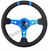 NRG Deep Dish Steering Wheel Black Leather / New Blue ST-016R-NB