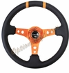 NRG Deep Dish Steering Wheel Black Leather / Orange ST-016R-OR