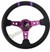 NRG Deep Dish Steering Wheel Black Leather / Purple ST-016R-PP