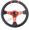 NRG Deep Dish Steering Wheel Black Leather / Red ST-016R-RD