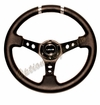 NRG Deep Dish Steering Wheel Black Leather / Silver ST-016R-SL