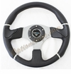 NRG EVO Steering Wheel Black Leather with Chrome Trim ST-008R